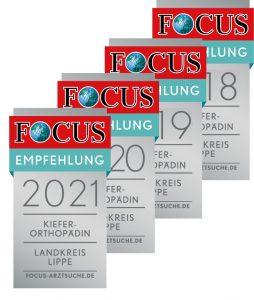 Focus Empfehlung 2018, 2019, 2020 und 2021: Kieferorthopädin im Landkreis Lippe