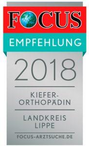 Focus Empfehlung 2018: Kieferorthopädin im Landkreis Lippe